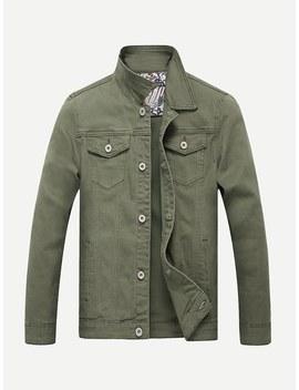 Men Contrast Stitching Plain Denim Jacket by Shein