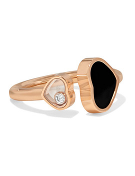 Happy Hearts 18 Karat Rose Gold, Diamond And Onyx Ring by Chopard
