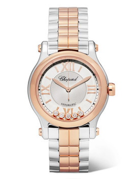 happy-sport-30mm-18-karat-rose-gold,-stainless-steel-and-diamond-watch by chopard