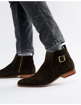 River Island Suede Chelsea Boots With Buckle Detail In Chocolate Brown by River Island