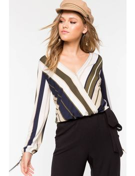 Alexa Striped Long Sleeve Blouse by A'gaci
