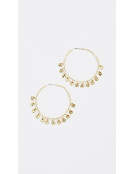 Hammered Disc Hoop Earrings by Luv Aj