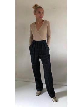 80s Black Watch Plaid 100 Percents Wool Deadstock Trousers / High Waisted Pleated Tartan Pants Made In Usa   27 W by Etsy