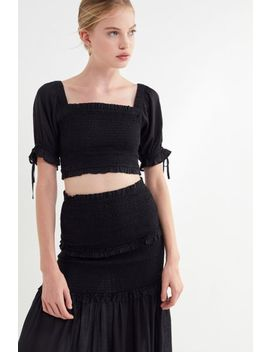 Uo Zane Smocked Square Neck Cropped Top by Urban Outfitters