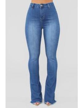 Valentina High Rise Flare Jeans   Medium Blue Wash by Fashion Nova