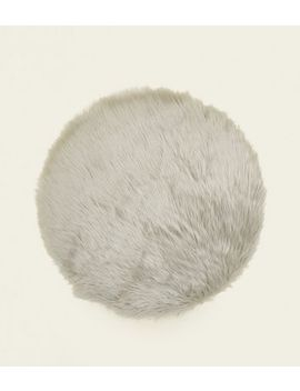 Dark Grey Fluffy Faux Fur Circle Rug by New Look