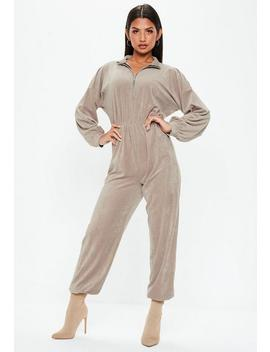 Gray Funnel Neck Zip Velour Jumpsuit by Missguided