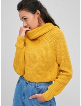 Zaful Cable Knit Turtleneck Cropped Sweater   Golden Brown M by Zaful