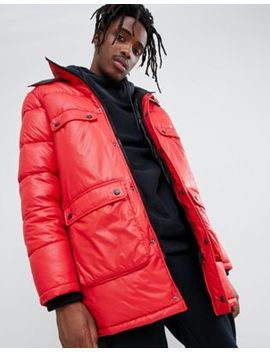 Asos Design Longline Parka Jacket With Faux Fur Trim In Red by Asos Design