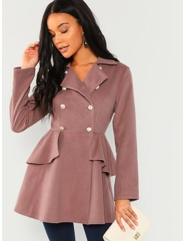 Double Breasted Collar Neck Solid Coat by Shein