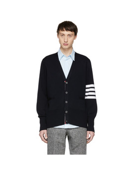 Navy Milano Stitch Four Bar Cardigan by Thom Browne