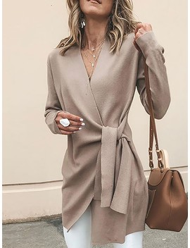 Solid Wrapped Self Belted Long Sleeve Coat by Ivrose