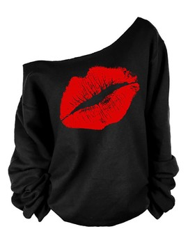 Lip Print Skew Neck Casual Sweatshirt by Ivrose