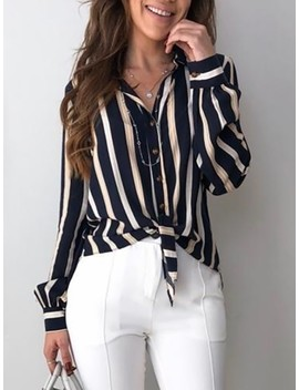 Contrast Stripes Button Up Knot Front Blouse by Ivrose