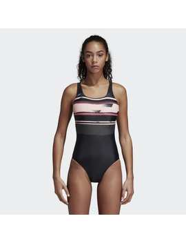 Placed Print Support Swimsuit by Adidas