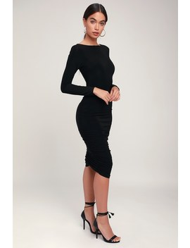 Sweet Thing Black Ruched Long Sleeve Backless Bodycon Dress by Lulus