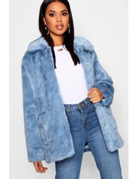 Luxe Collared Faux Fur Coat by Boohoo