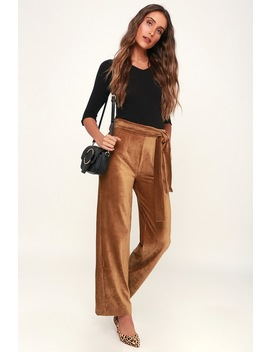 Spread The Love Light Brown Ribbed Velvet Wide Leg Pants by Moon River