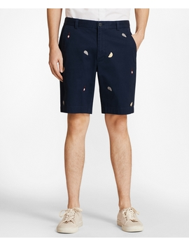 Embroidered Oyster Cotton Twill Shorts by Brooks Brothers
