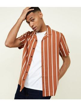 Rust Stripe Short Sleeve Revere Collar Shirt by New Look