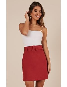 Echos Of Love Skirt In Chilli Linen Look by Showpo Fashion