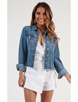 Alone Star Jacket In Mid Wash Denim by Showpo Fashion
