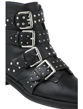 Black Studded Strap Ankle Boots by I Saw It First