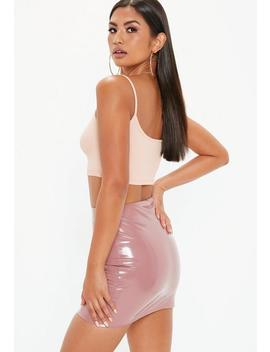 Rose Pink Vinyl Mini Skirt by Missguided