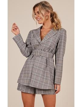 A Girls Dream Blazer In Grey Check by Showpo Fashion