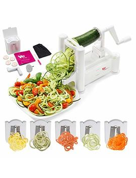 Wonder Veg Strongest And Heaviest 5 Blade Vegetable Spiralizer, Best Zoodle Maker, Fruit Slicer & Zucchini Spaghetti Maker, Perfect Veggie Spiralizer For Keto Carb/Paleo/Gluten, Free Tools+Recipe Book by Wonder Veg