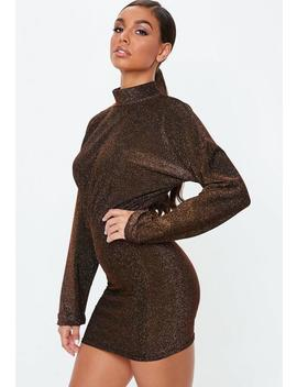 Bronze Shimmer High Neck Mini Dress by Missguided
