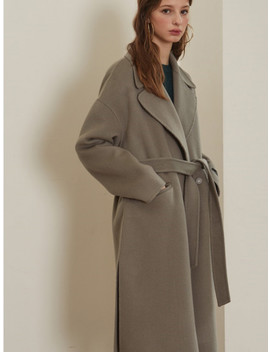 Green Grey Oversize Handmade Coat by Lookast