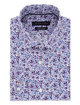 Men's Slim Fit Th Flex Non Iron Supima Stretch Floral Dress Shirt by Tommy Hilfiger