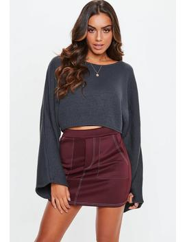 Plum Contrast Stitch Scuba Utility Tie Waist Mini Skirt by Missguided