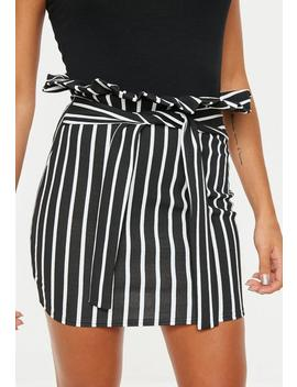 Black Mono Stripe Paperbag Mini Skirt by Missguided