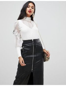 Morgan High Neck Top With Sheer Sleeve Detail In White by Morgan