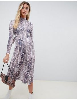 Asos Design Snake Print Open Back Skater Midi Dress by Asos Design
