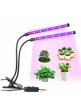 Led Grow Light, Ledmei 18 W Dual Head Plant Grow Light Dimmable 2 Levels Grow Lights Desk Clip With Adjustable 360° Goose Neck For Indoor Hydroponics Greenhouse Garden Home Office Plants by Ledmei