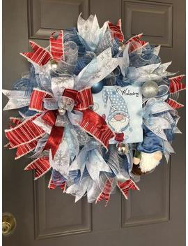 Gnome Christmas Wreath, Winter Welcome Decor, Blue Christmas Fantasy, Kats Creations 777 by Etsy