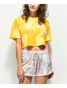 Obey New World Bleached Yellow Crop T Shirt by Obey