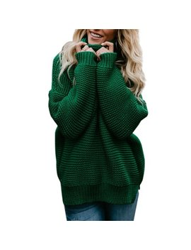 Women Winter Warm Knitted Sweater Polo Neck Tops Chunky Knitting Pullover Loose Jumper Baggy Knit Turtle Neck Jumpers by Sexy Dance