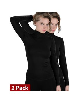 2 Pack Basic Seamless Mock Neck Turtleneck Long Sleeve Shirts by Ek Tanco