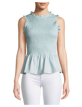 Lorraine Smocked Sleeveless Ruffle Top by Amanda Uprichard