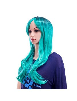 Swacc 26 Inch Long Curly Wave Synthetic Wig Dark Root Ombre To Teal Blue Color by Swacc