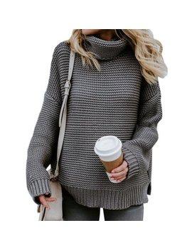 Ropalia Women Turtleneck Long Sleeve Solid Color Sweater by Ropalia