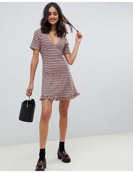 Asos Design Tonal Stripe Rib Mini Button Through Tea Dress by Asos Design