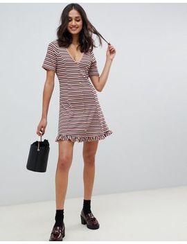 Asos Design Tonal Stripe Rib Mini Button Through Tea Dress by Asos Design