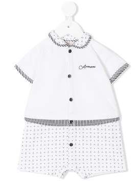 Anchor And Logo Print Shorties by Emporio Armani Kids