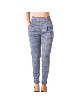 Ladies Casual Plaid Trouser Pants by Special One