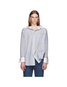 White & Blue Oversized Oxford Shirt by Matthew Adams Dolan
